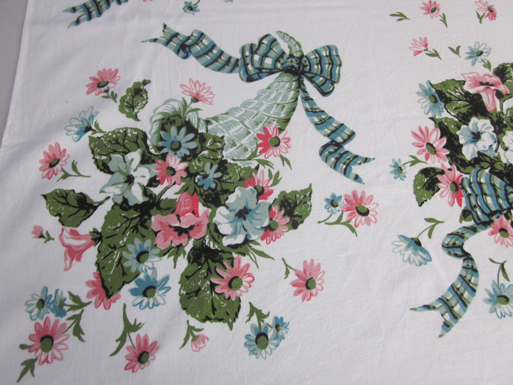 Pink Teal Green Ribbons Floral Vintage Printed Tablecloth (60 X 52)