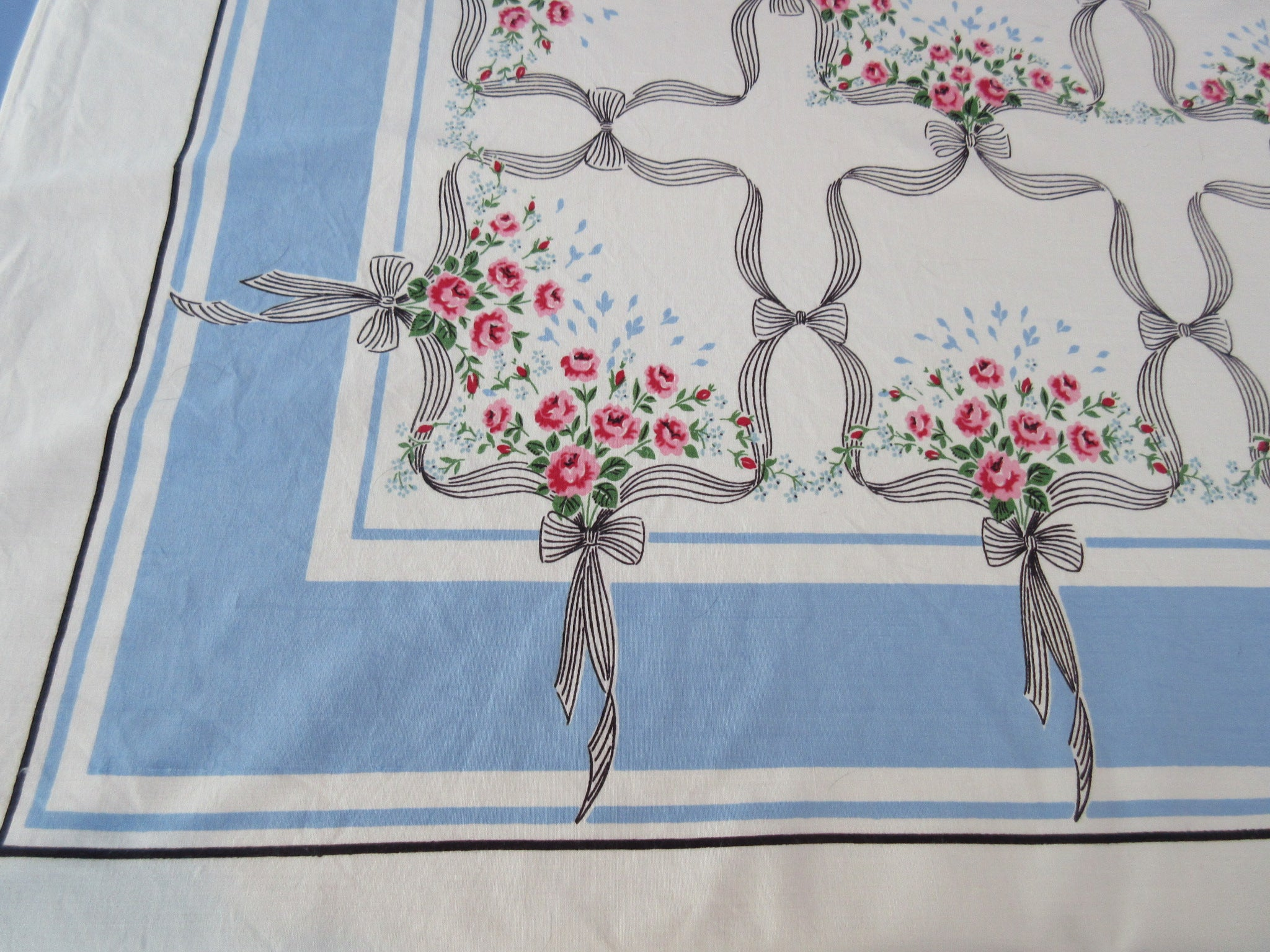 Petite Pink Roses Black Wrought Iron French Blue Floral Vintage Printed Tablecloth (62 X 51)
