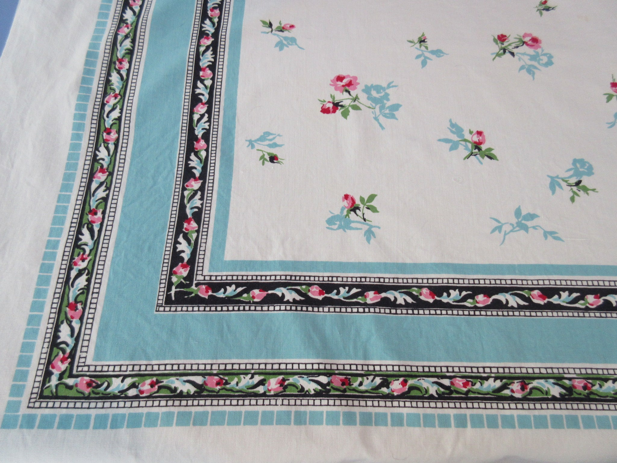 Petite Pink Roses Robin's Egg Blue Floral Vintage Printed Tablecloth (54 X 48)