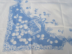 Reverse Printed Fruit on Cornflower Blue Topper Vintage Printed Tablecloth (36 X 32)
