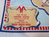 Texas Textile Mills Cartoon State Souvenir Novelty Vintage Printed Tablecloth (54 X 48)