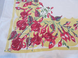 Early Red Green Fuchsias on Yellow Floral Vintage Printed Tablecloth (62 X 48)