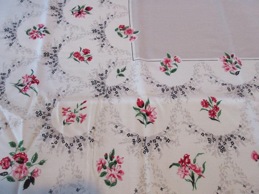 Petite Pink Red Flowers on Taupe MWT Floral Vintage Printed Tablecloth (52 X 52)