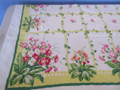 HTF Pink Primroses on Yellow Parisian Prints Floral Vintage Printed Tablecloth (64 X 51)