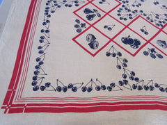 Patriotic Early Red Blue Fruit Cherries Diamonds Vintage Printed Tablecloth (51 X 46)