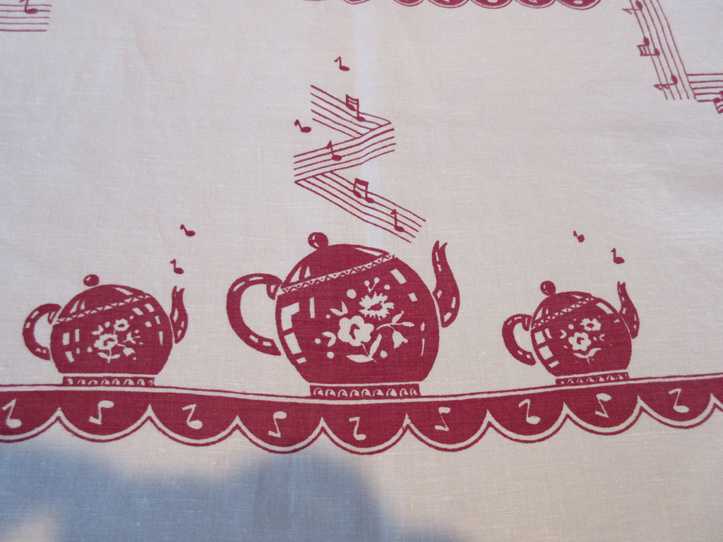 Magenta I'm a Little Teapot Linen Novelty Vintage Printed Tablecloth (52 X 52)
