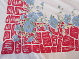 Blue Poppies on Red Patch Cobblestones Floral Vintage Printed Tablecloth (72 X 58)