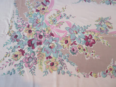Stylized Blue Daffodils Pink Ribbons on Tan Floral Vintage Printed Tablecloth (68 X 58)