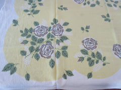 Shabby Gold Roses on Yellow Linen Floral Vintage Printed Tablecloth (48 X 46)