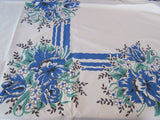 Blue Black Green Graphic Poppies Floral Vintage Printed Tablecloth (72 X 56)