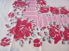 Shabby Red Roses on Pink Linen Floral Vintage Printed Tablecloth (64 X 50)