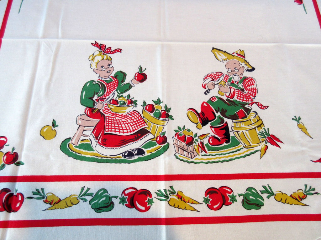 Bucilla Old Folks Vegetables Picnic Table Novelty Vintage Printed Tablecloth (52 X 38)