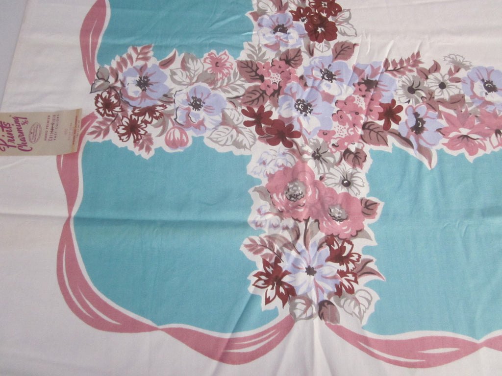Pink Aqua Brown Lavender Floral MWT Vintage Printed Tablecloth (53 X 52)