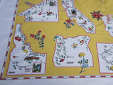 Western States on Yellow Souvenir Novelty Vintage Printed Tablecloth (51 X 50)