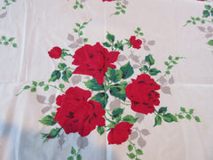 Red Green Roses Startex CUTTER Floral Vintage Printed Tablecloth