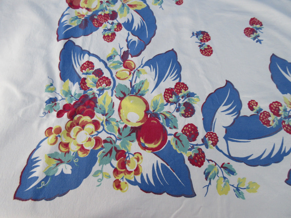 Large Heavy Primary Fruit on Blue Leaves Vintage Printed Tablecloth (78 X 59)