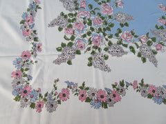 Pink Roses Grey Lilacs on Blue Floral Vintage Printed Tablecloth (59 X 52)