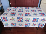 Primary Red Green Fruit on Blue Sheeting Vintage Printed Tablecloth (49 X 49)