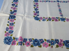 Blue Roses Pink Posies MWT Linen Floral Vintage Printed Tablecloth (68 X 51)
