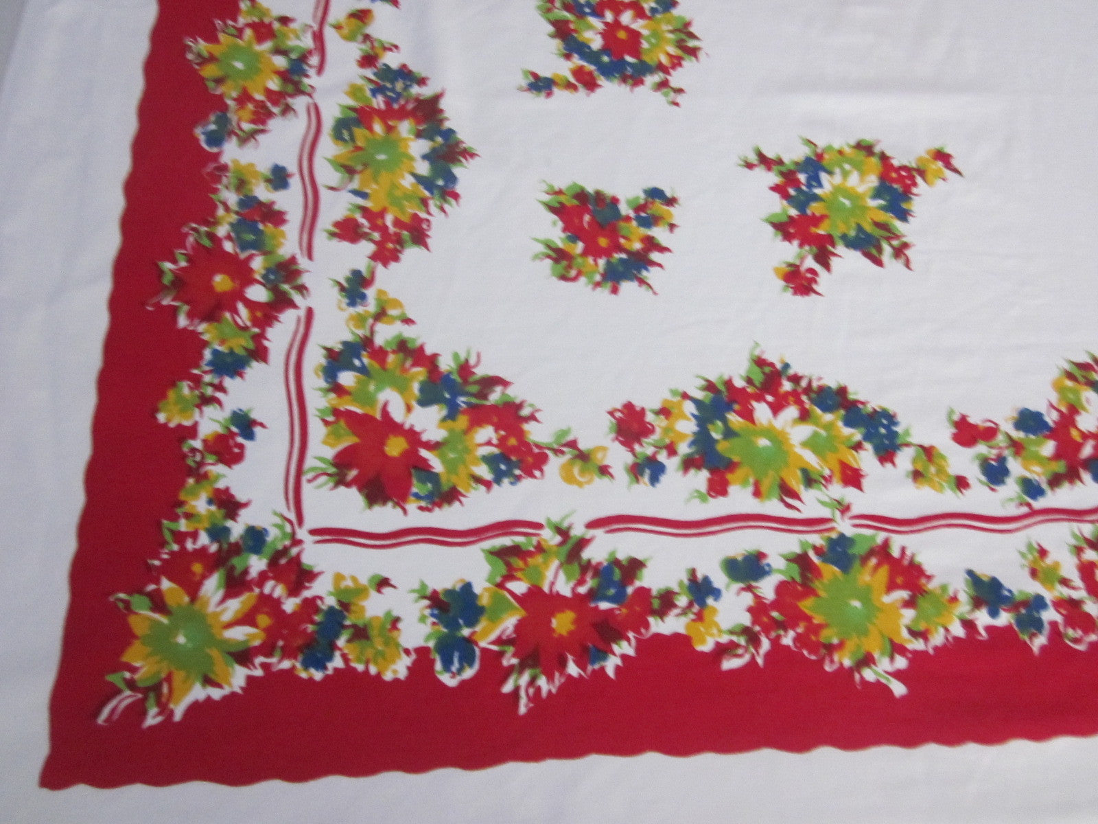 Primary Blue Yellow Floral on Red Vintage Printed Tablecloth (64 X 52)