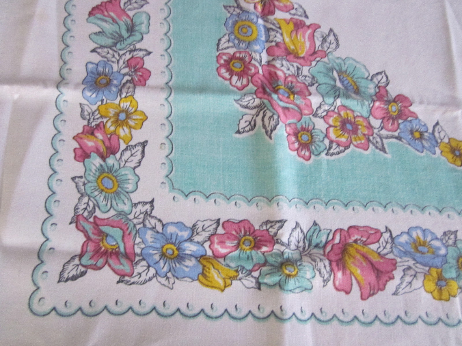 Pastel Pink Yellow Blue Floral on Aqua Linen Vintage Printed Tablecloth (50 X 50)