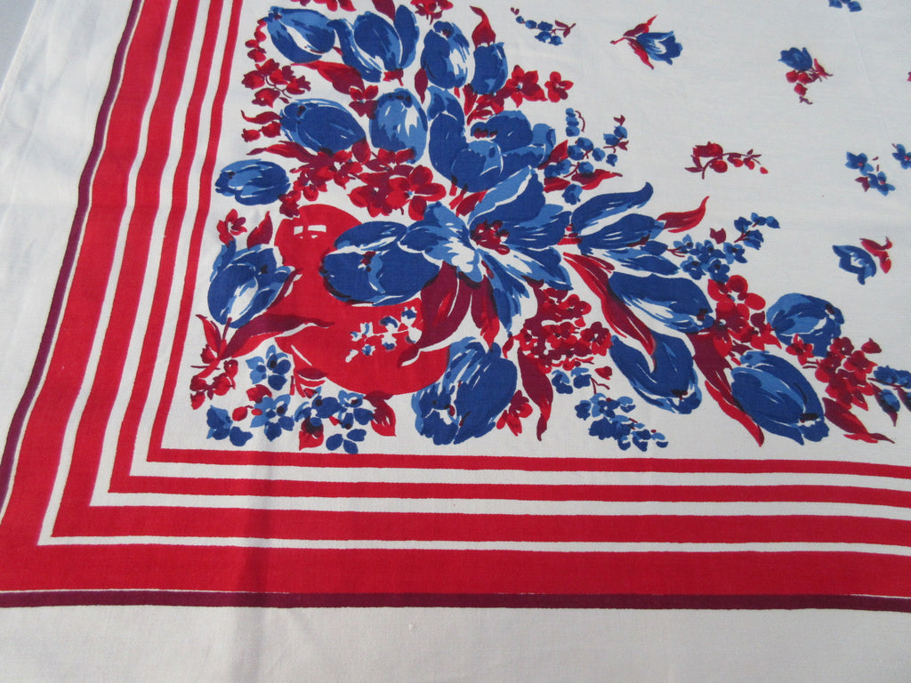 Bright Blue Magenta Tulips on Red Floral Vintage Printed Tablecloth (49 X 47)