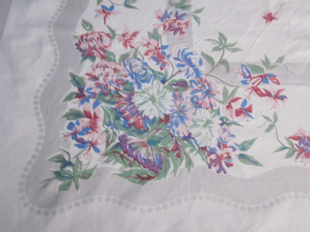 Pastel Chrysanthemums on Gray Floral Vintage Printed Tablecloth (51 X 49)