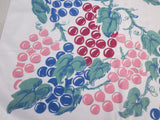 Early Hand Printed Grapes Fruit Vintage Printed Tablecloth (49 X 48)