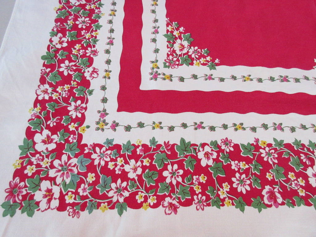 Adorable Pastel Flowers Ivy on Red Floral Vintage Printed Tablecloth (58 X 47)