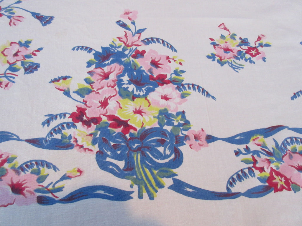 Pink Hibiscus Blue Ribbon Floral Vintage Printed Tablecloth (54 X 48)