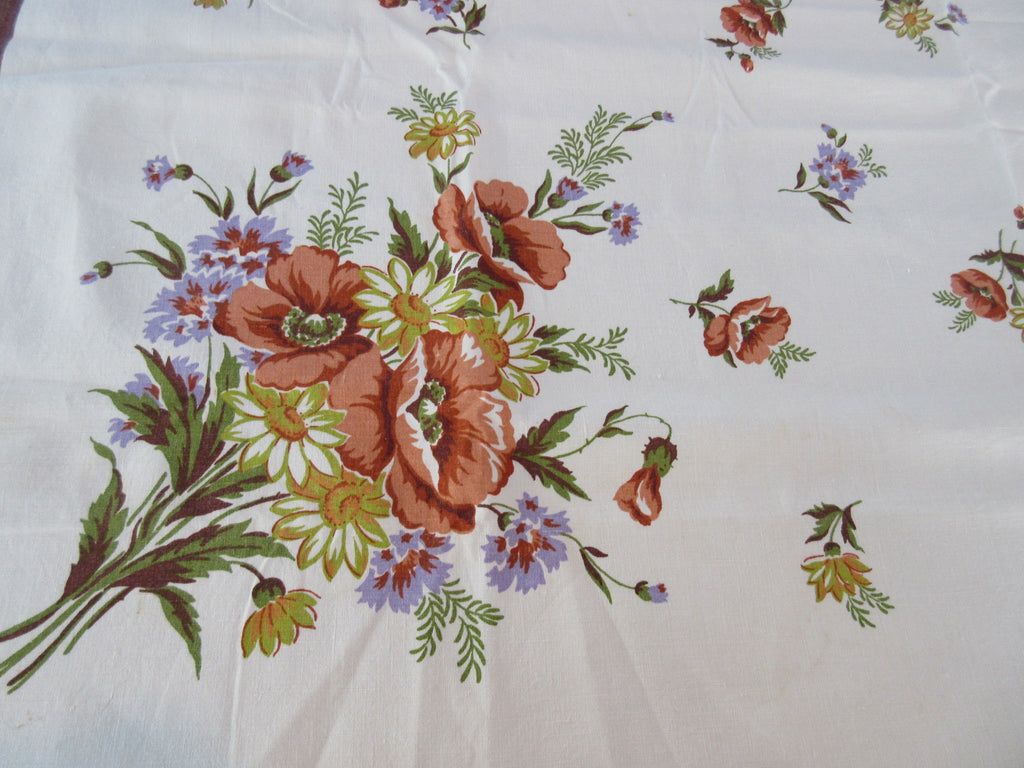 Brown Poppies Bachelor Buttons Linen Floral Vintage Printed Tablecloth (49 X 48)
