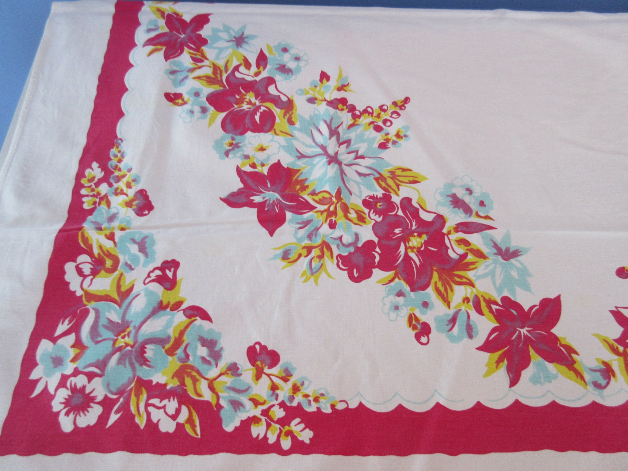 Aqua Yellow Hibiscus on Red Cutter? Floral Vintage Printed Tablecloth (61 X 50)