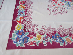 Shabby Primary Flowers on Magenta Floral Vintage Printed Tablecloth (52 X 49)