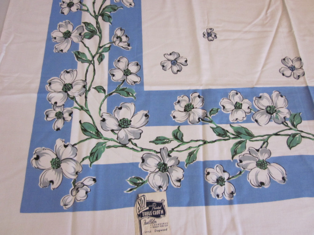 Gray Green Dogwoods on Blue Floral MWT Vintage Printed Tablecloth (50 X 50)