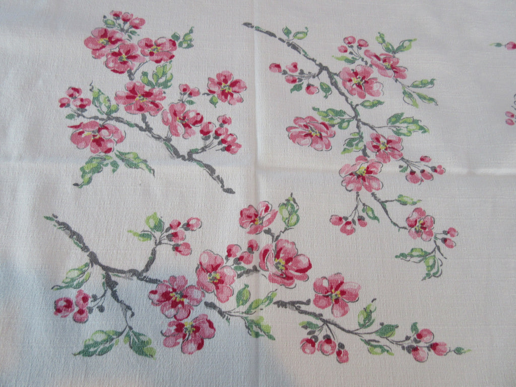 Pink Grey Green Cherry Blossom Branches Floral Vintage Printed Tablecloth (54 X 47)