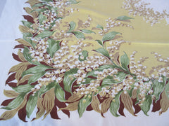 CHP Lily of the Valley on Gold CUTTER Floral Vintage Printed Tablecloth (51 X 44)