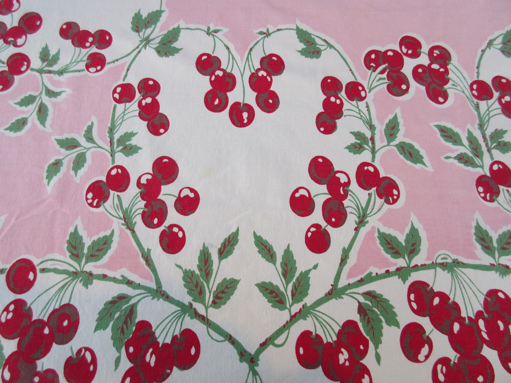 HTF Red Cherry Hearts on Pink Fruit Vintage Printed Tablecloth (62 X 53)