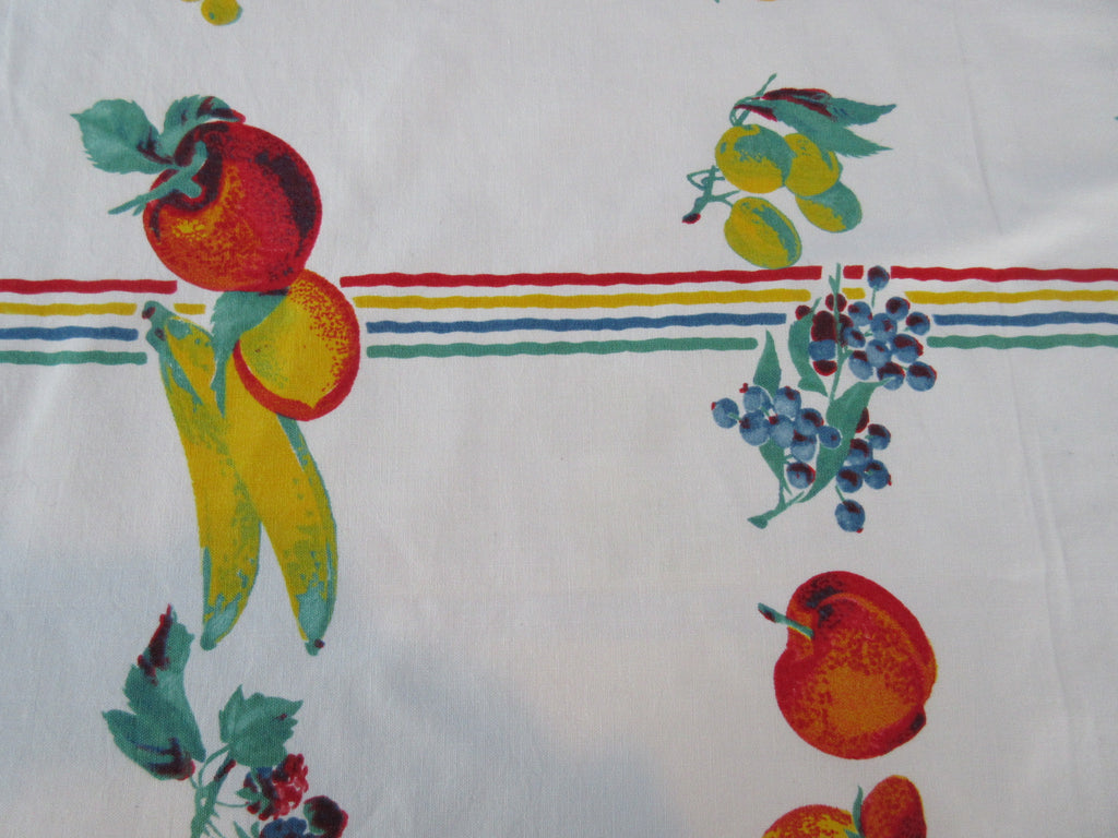 Wilendur Primary Fruit Stripe Cutter? Fruit Vintage Printed Tablecloth (68 X 54)