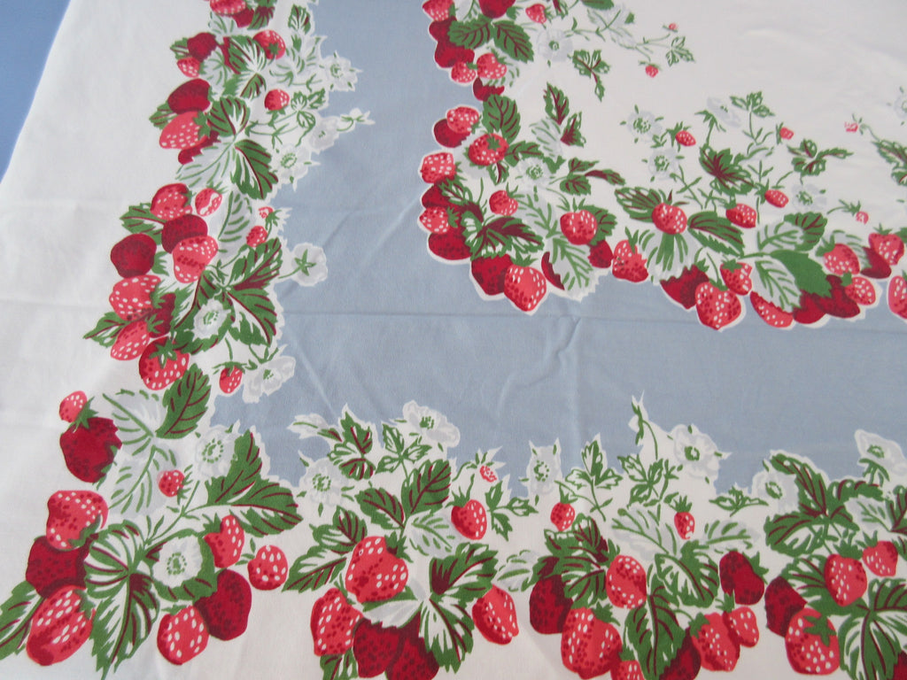 Strawberries on Steel Blue Cutter? Fruit Vintage Printed Tablecloth (68 X 58)