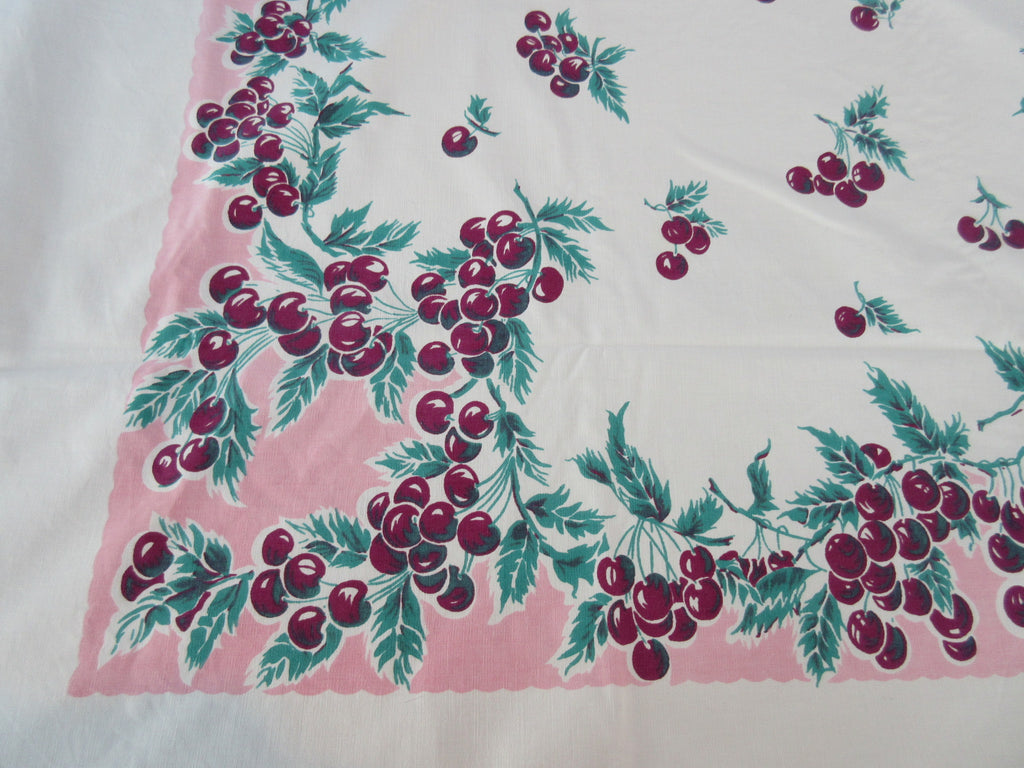 Magenta Cherries on Pink Fruit Vintage Printed Tablecloth (72 X 60)