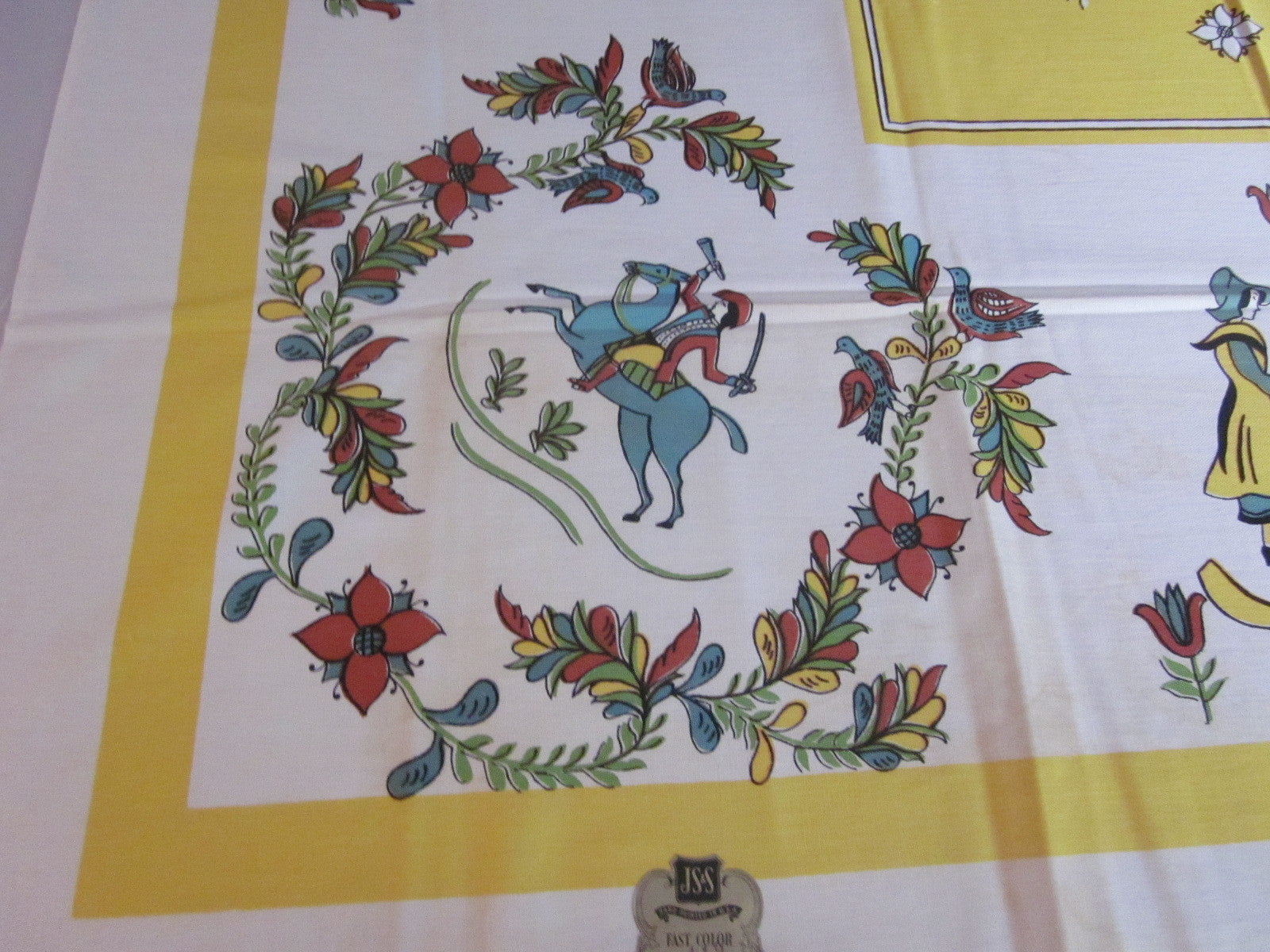 Pilgrims PA Dutch Gold Novelty MWT Vintage Printed Tablecloth (53 X 52)
