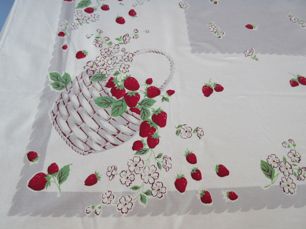 Bright Strawberry Baskets on Gray Fruit Vintage Printed Tablecloth (64 X 52)