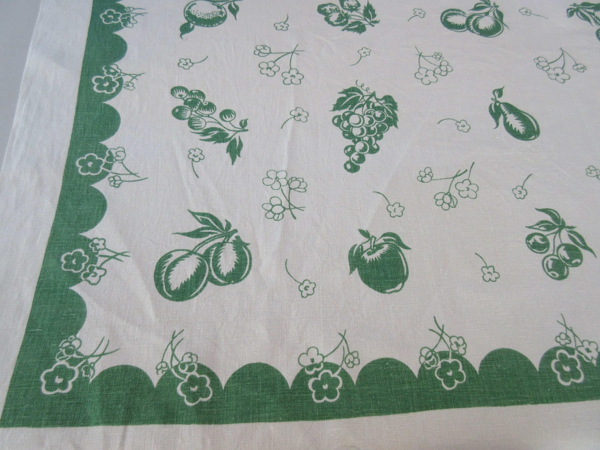 Single Color Early Linen Fruit Vintage Printed Tablecloth (50 X 50)