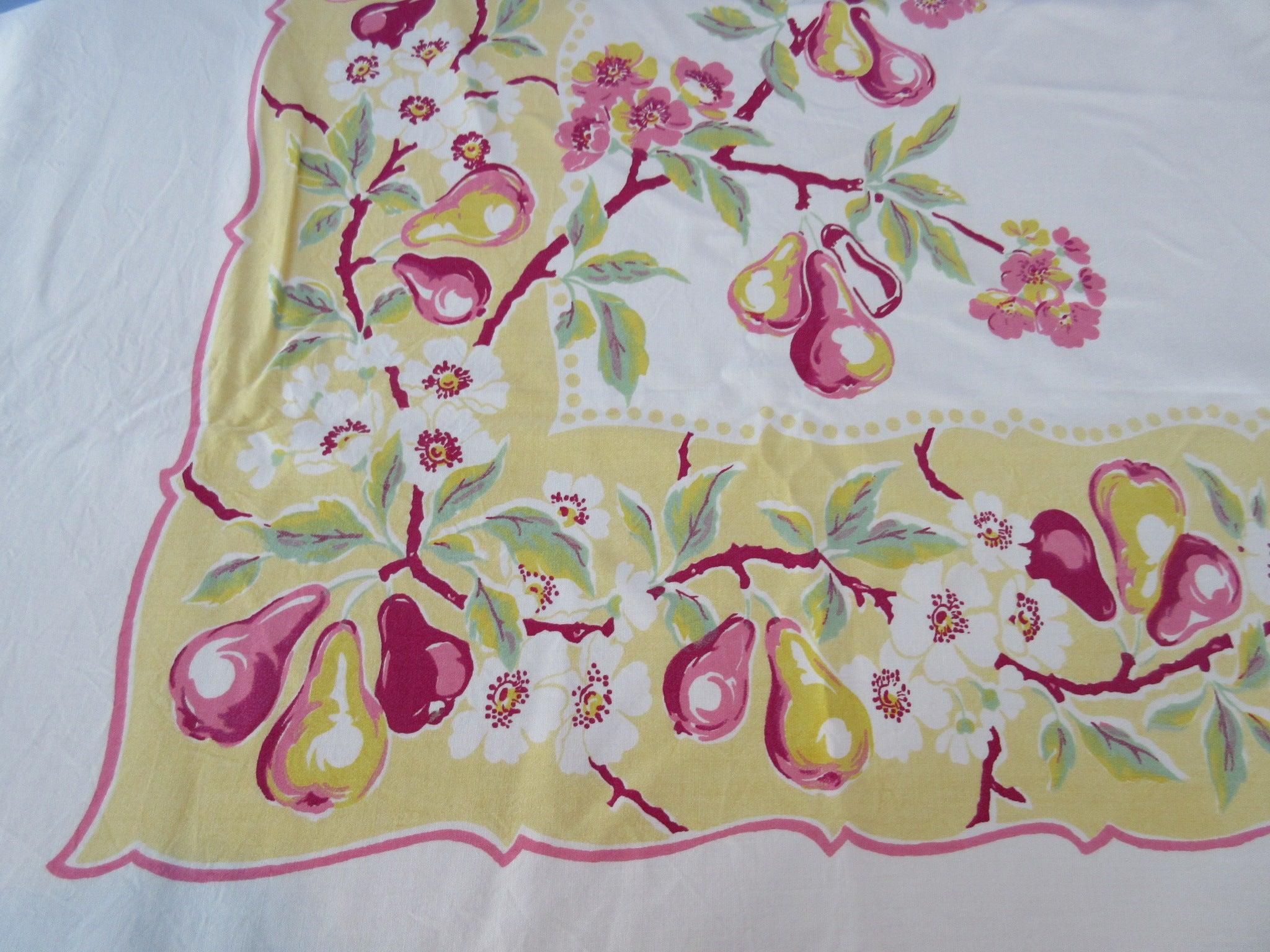 Shabby Pink Pears on Yellow Fruit Vintage Printed Tablecloth (69 X 60)