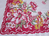 Flowers on Lipstick Red Floral Vintage Printed Tablecloth (62 X 51)