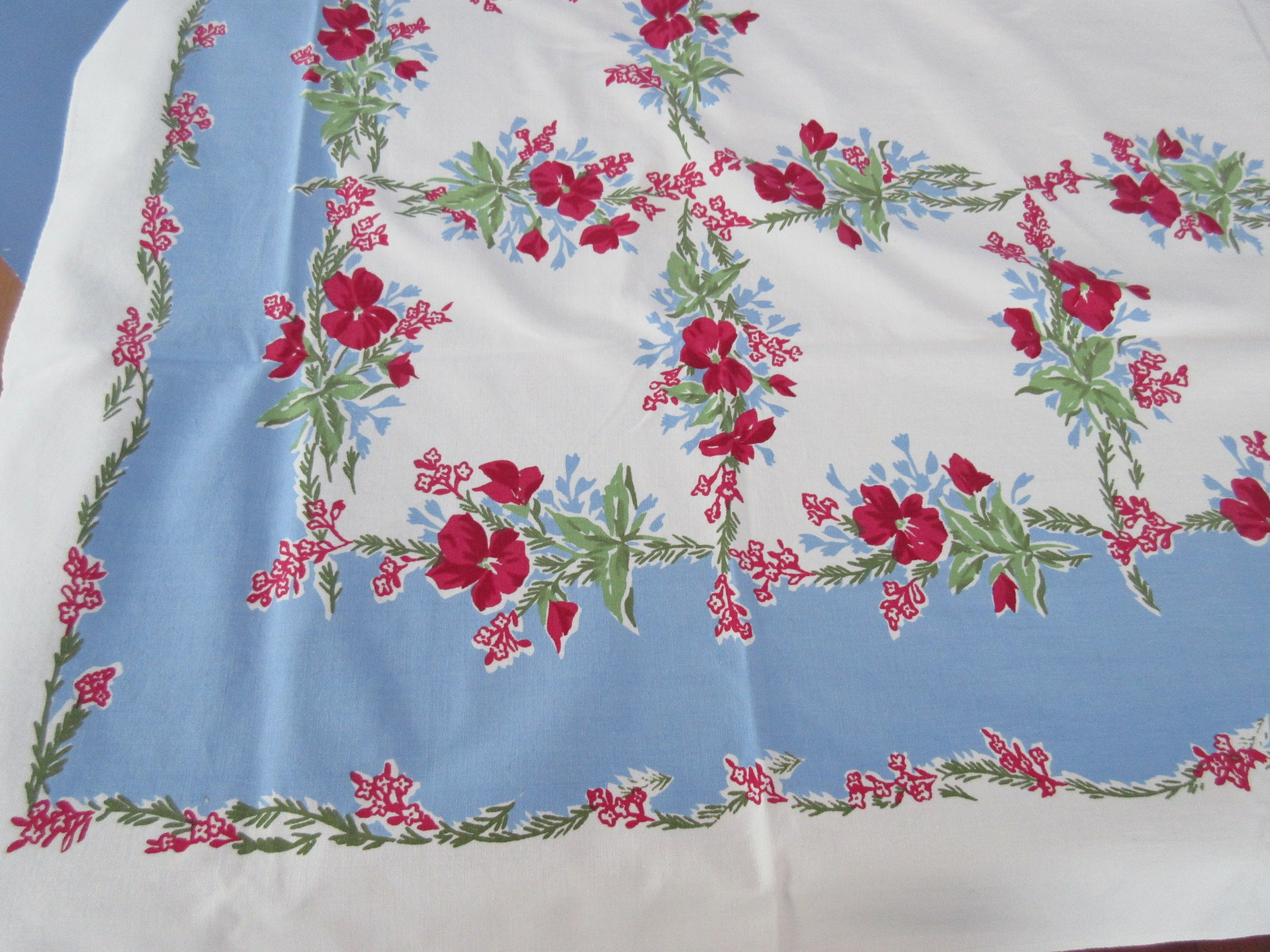 Bright Lipstick Red Pink Violas on Blue Floral Vintage Printed Tablecloth (63 X 50)