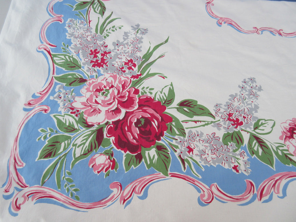 Pink Roses Gray Lilacs on Blue Floral Vintage Printed Tablecloth (53 X 50)