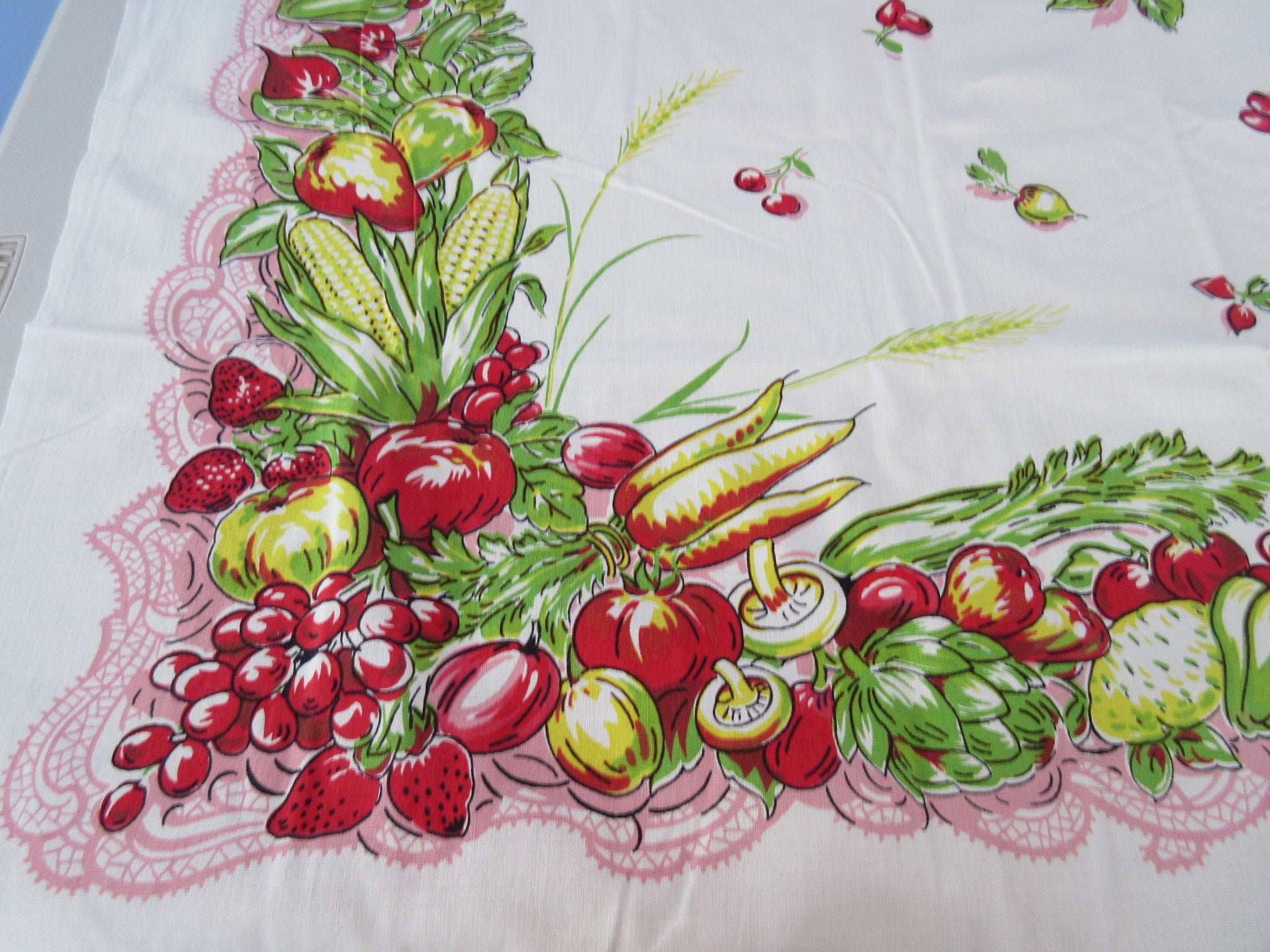 HTF Vegetables Fruits on Pink Lace Victory Garden Vintage Printed Tablecloth (51 X 50)