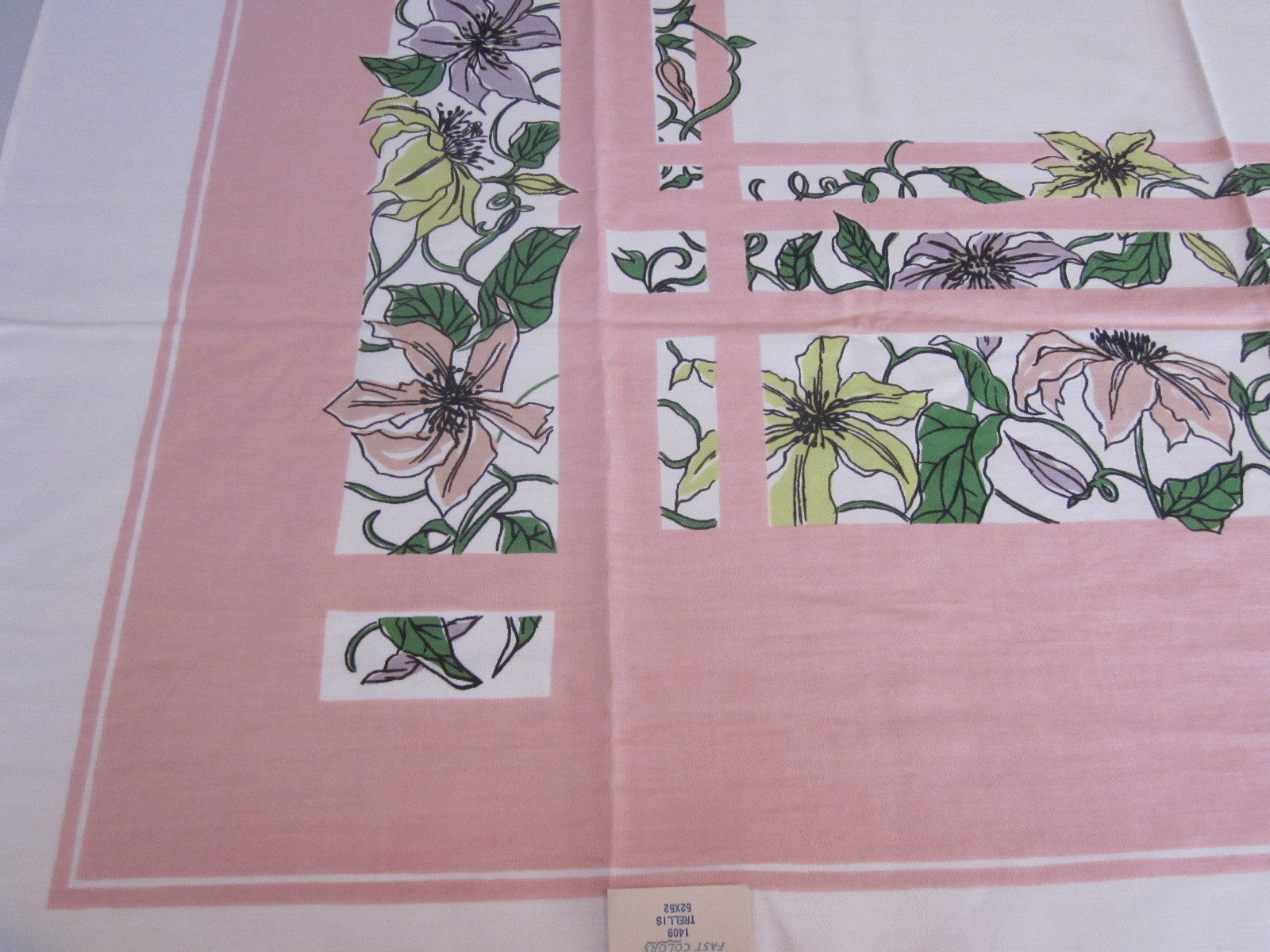 Lime Clematis on Pink Floral Napkins MWT Vintage Printed Tablecloth (52 X 52)