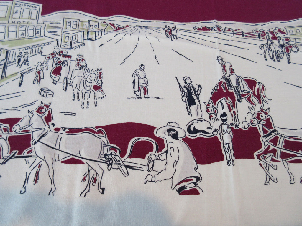 Simtex Gold Rush Wild West on Magenta Novelty Vintage Printed Tablecloth (60 X 50)